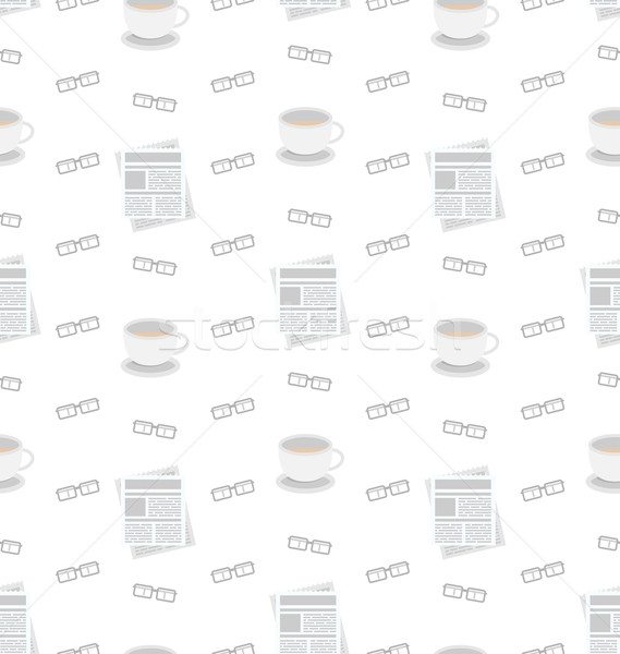 Seamless Pattern with Newspapers, Coffee and Eyeglasses, Flat Business Icons, Repeating Wallpaper Stock photo © smeagorl