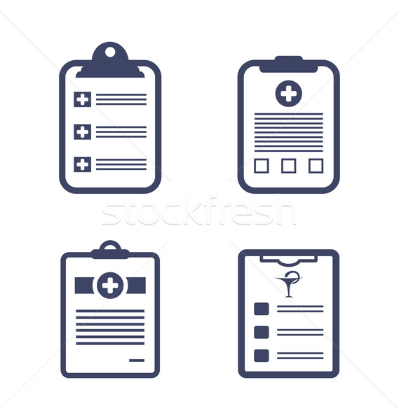 Set Medical Records Clipboard Stock photo © smeagorl