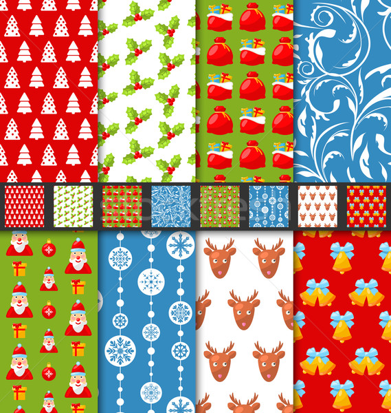 Set seamless christmas pattern santa stag toys snowflakes Stock photo © smeagorl