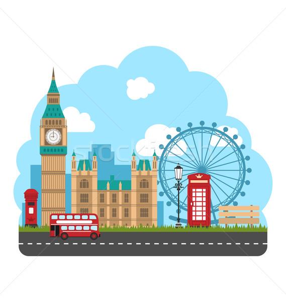 Ontwerp poster reizen Engeland stedelijke illustratie Stockfoto © smeagorl
