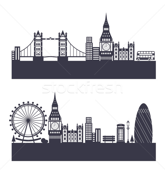 Silhouette Background of Abstract London Skyline Stock photo © smeagorl