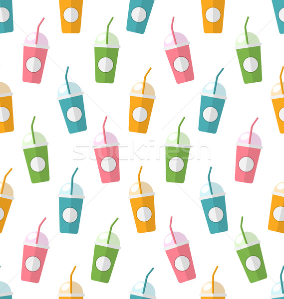 Seamless Pattern with Colorful Set of Milkshakes with Straws Stock photo © smeagorl