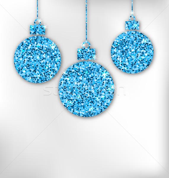 Christmas Balls with Sparkle Surface Stock photo © smeagorl