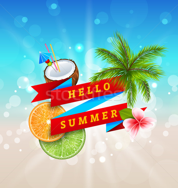 Summer Festival Poster Design with Coconut, Cocktail, Palm Tree Leaves Stock photo © smeagorl