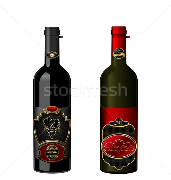 Illustration of wine bottles with attached vintage labels Stock photo © smeagorl