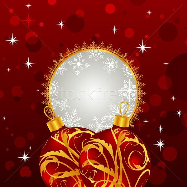 Christmas invitation with balls Stock photo © smeagorl