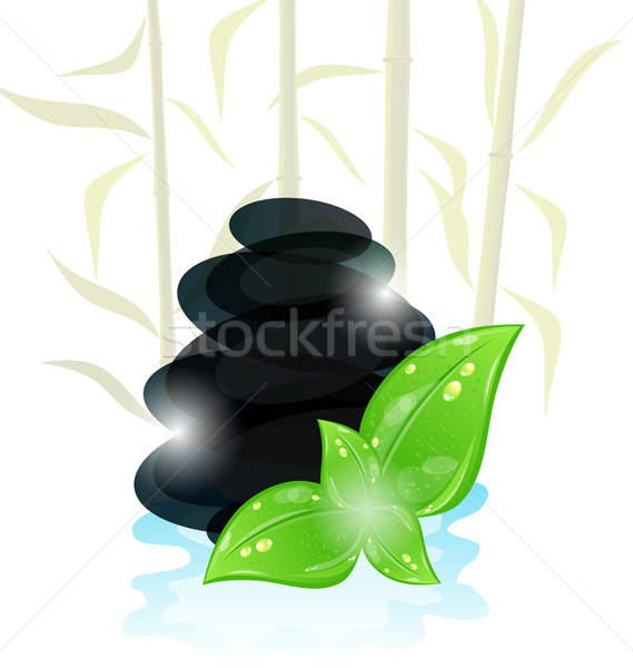 Meditative oriental background with cairn stones and eco green l Stock photo © smeagorl