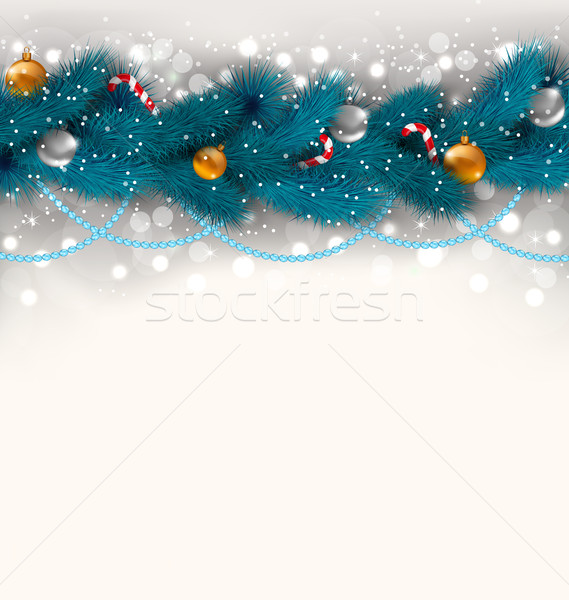 Christmas decoration with fir branches, glass balls and sweet ca Stock photo © smeagorl