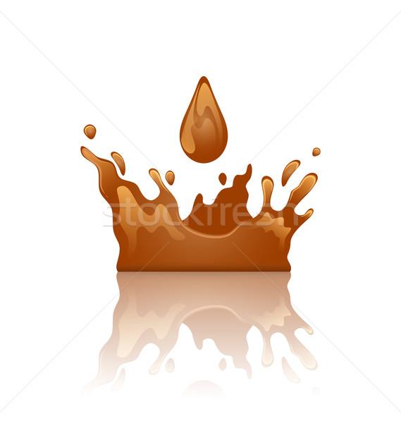 шоколадом всплеск корона капелька отражение изолированный Сток-фото © smeagorl