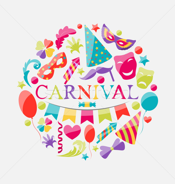 Festive banner with carnival colorful icons Stock photo © smeagorl