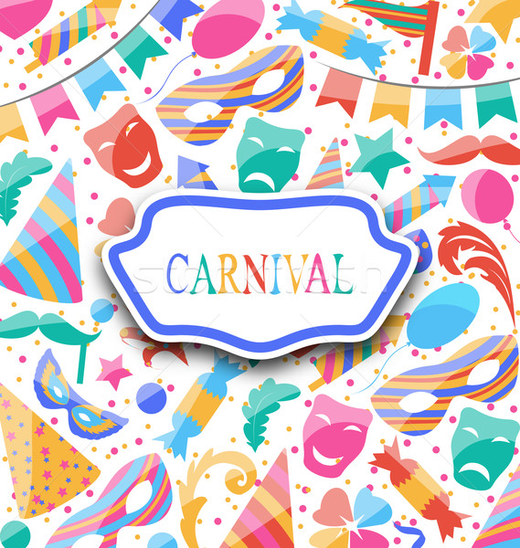 Festive postcard with carnival colorful icons and objects Stock photo © smeagorl