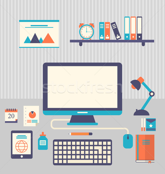 Flat icons of trendy everyday objects, office supplies and busin Stock photo © smeagorl