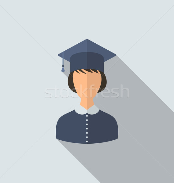 Flat icon of female graduate in graduation hat, simple style wit Stock photo © smeagorl