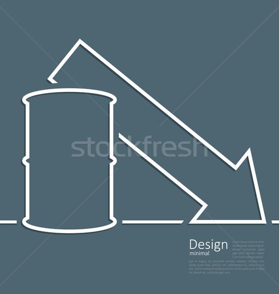 Illustration arrow indicating trend falling cost oil, logo templ Stock photo © smeagorl