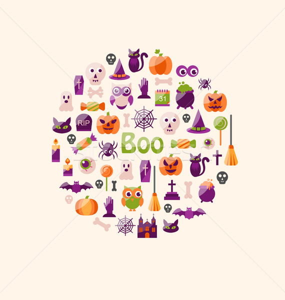 Halloween Colorful Flat Icons. Party Background Stock photo © smeagorl