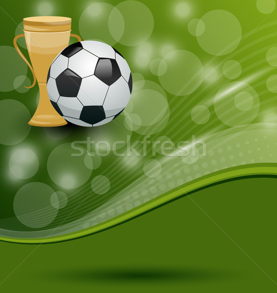 Football card with ball and prize Stock photo © smeagorl