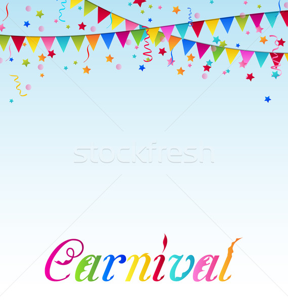 Carnival background with flags, confetti, text Stock photo © smeagorl