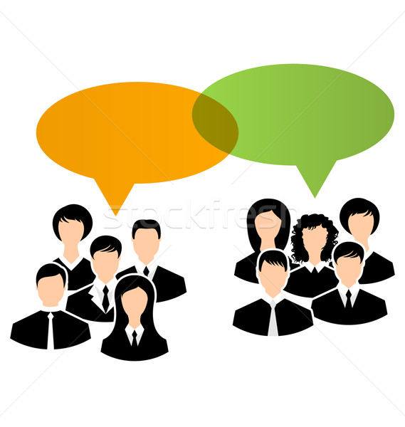 Icone business gruppi discorso illustrazione Foto d'archivio © smeagorl