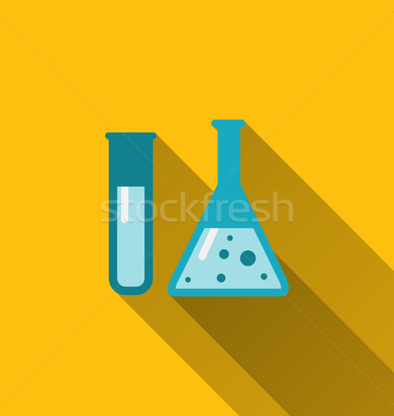 Icons of chemical test tubes with shadows, modern flat style Stock photo © smeagorl