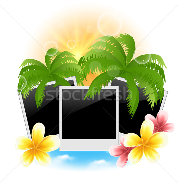 Set photo frame with palms, flowers frangipani, seascape backgro Stock photo © smeagorl