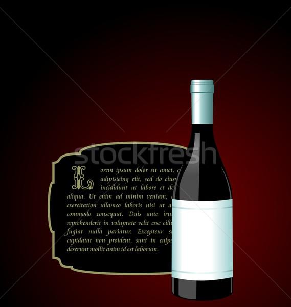 Ilustración élite botella de vino blanco etiqueta diseno Foto stock © smeagorl