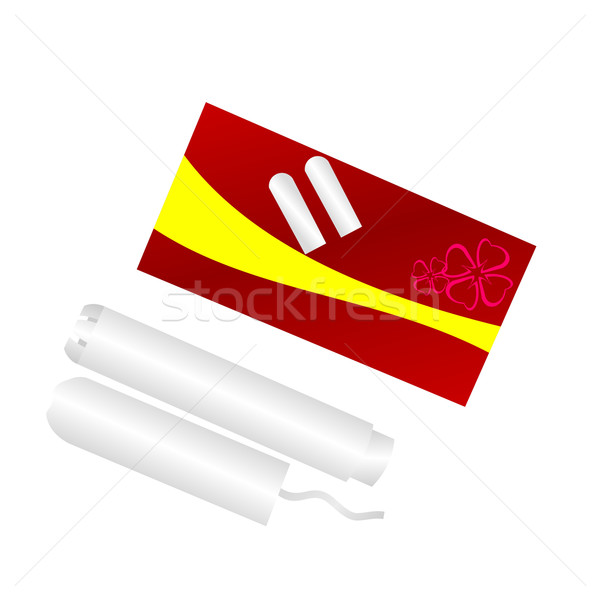 Realistic illustration packing of tampons is isolated on white b Stock photo © smeagorl