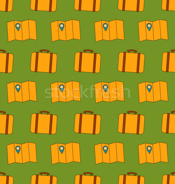 Seamless Pattern with Maps and Baggages Stock photo © smeagorl