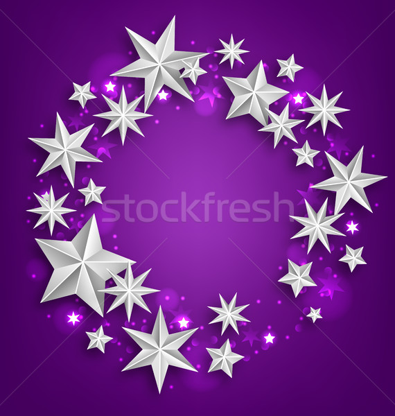 Abstract Greeting Round Frame Made of Silver Stars Stock photo © smeagorl