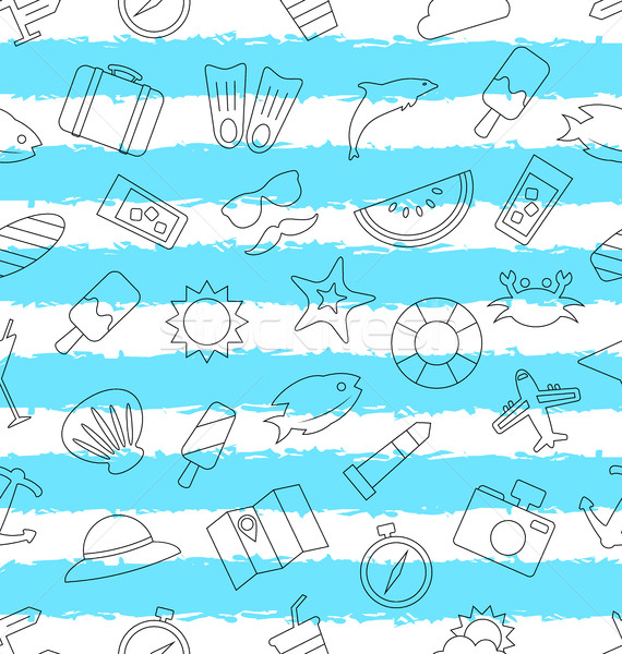 Seamless Pattern with Hand Drawn Travel Objects and Icons Stock photo © smeagorl