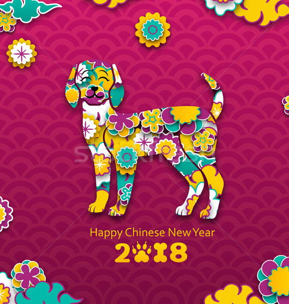 2018 Chinese New Year Banner, Earthen Dog, Paper Colorful Cutting Pattern Stock photo © smeagorl