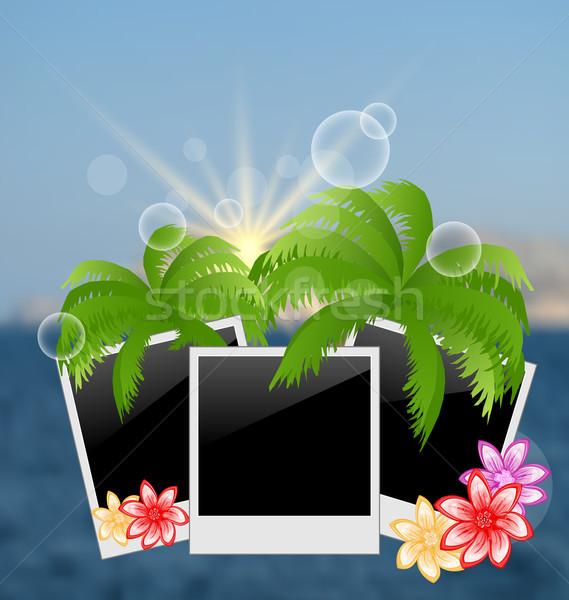 Ingesteld palmen bloemen wazig zeegezicht Stockfoto © smeagorl