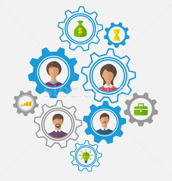 Idea of teamwork and success, business people enclosed in cogwhe Stock photo © smeagorl
