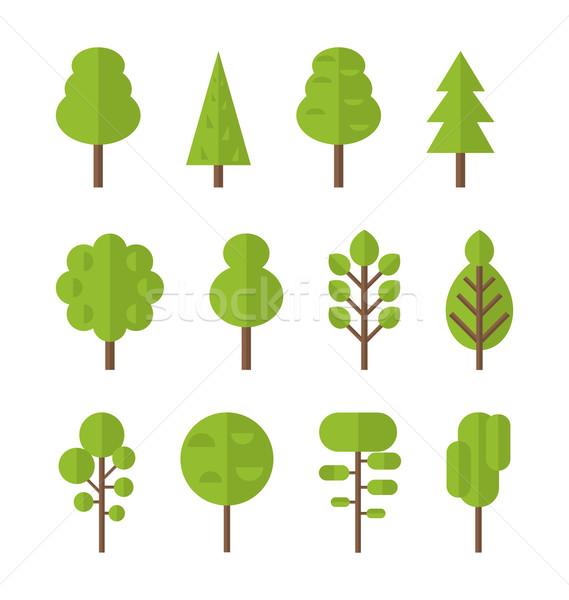 Ensemble icônes arbre jardin Bush Photo stock © smeagorl
