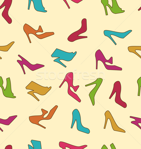 Seamless Texture with Colorful Women Footwear Stock photo © smeagorl
