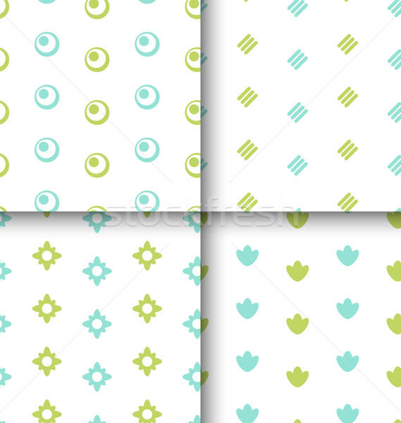 Set Seamless Pattern with Geometric Texture, Colorful Kid Patter Stock photo © smeagorl