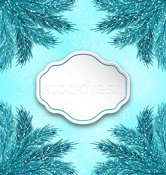 Biglietto d'auguri frame illustrazione inverno vacanze Foto d'archivio © smeagorl