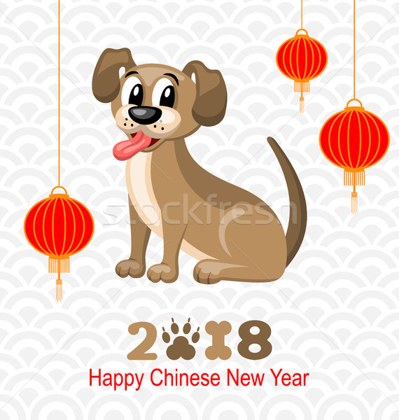 2018 Chinese New Year of Dog, Lanterns and Doggy, Celebration Eastern Card Stock photo © smeagorl