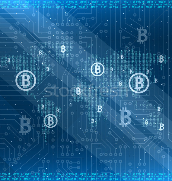 Mining Bitcoin Cryptocurrency Around the World, Cryptography Stock photo © smeagorl