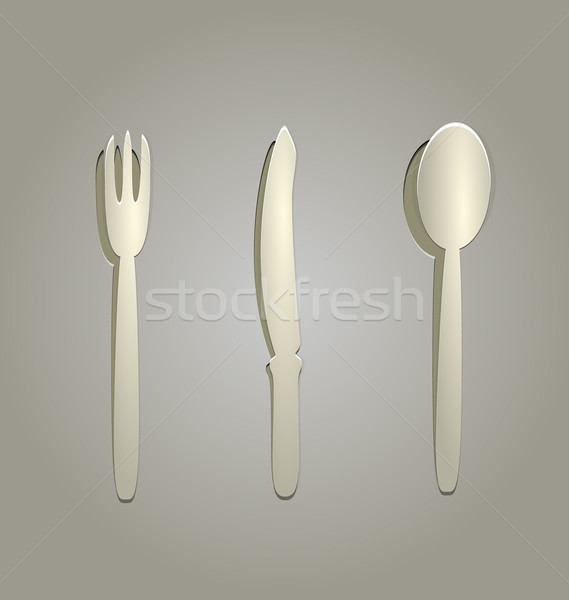 Illustration of silverware cut from paper Stock photo © smeagorl
