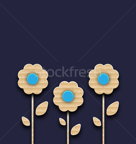 Abstract glade with paper flowers, carton texture Stock photo © smeagorl