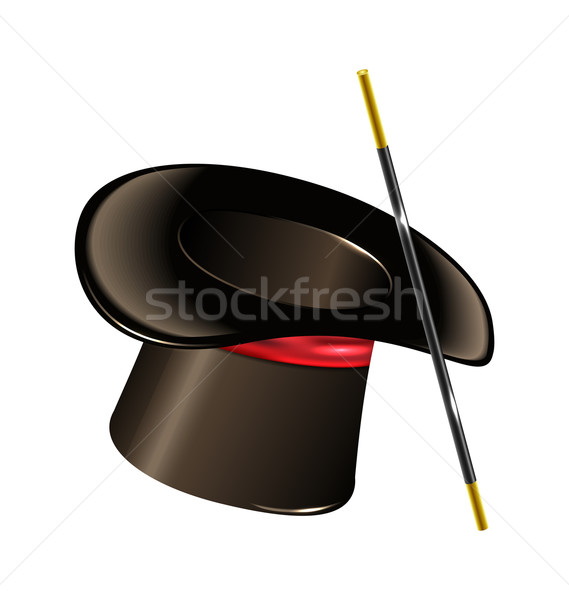 Magic hat with wand isolated on white background Stock photo © smeagorl