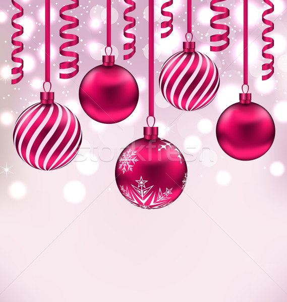 Christmas shimmering background with balls and streamer Stock photo © smeagorl