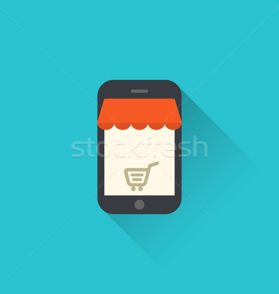 Online shopping on smartphone via modern communication technolog Stock photo © smeagorl