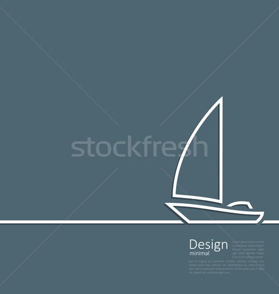 Logo of sailboat in minimal flat style line  Stock photo © smeagorl