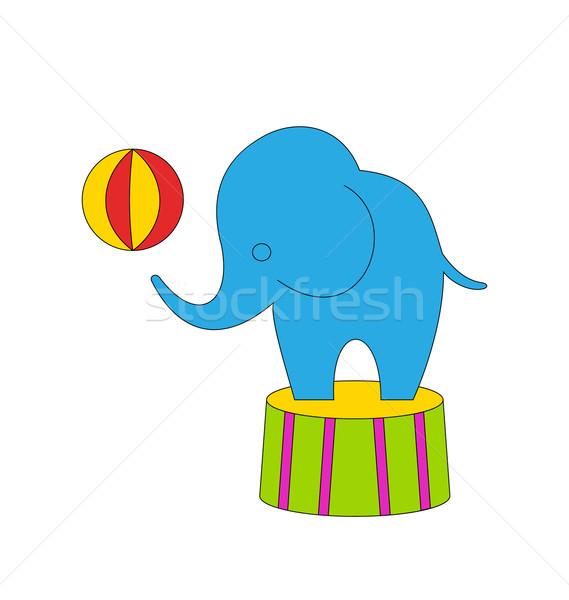 Circo desenho animado elefante pódio bola ilustração Foto stock © smeagorl