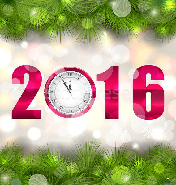 New Year Midnight Background with Clock and Fir Twigs Stock photo © smeagorl