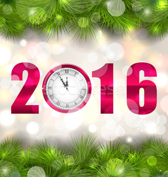 Año nuevo medianoche reloj abeto ilustración árbol Foto stock © smeagorl
