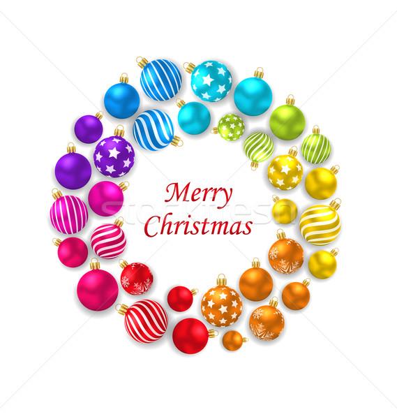 Сток-фото: набор · красочный · Рождества · стекла · кадр