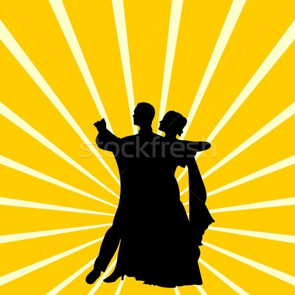 силуэта пару танцы вальс женщины дизайна Сток-фото © smeagorl