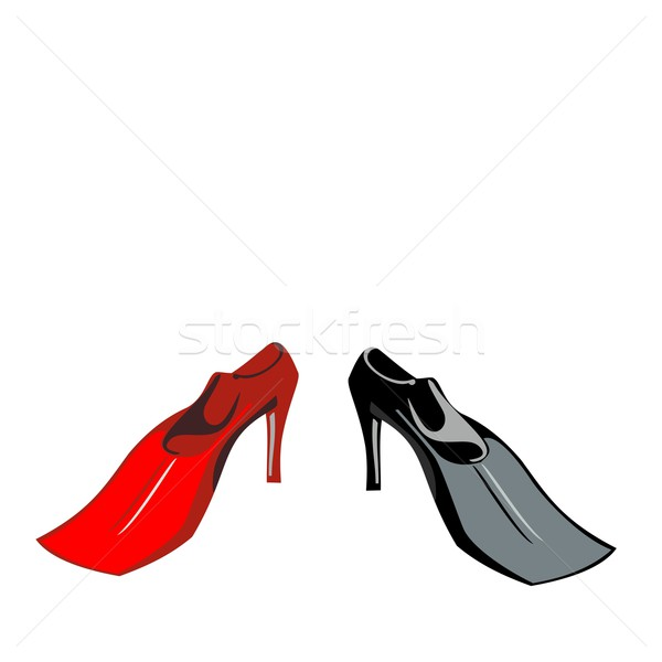 Humour of shoe-flippers are isolated on white background Stock photo © smeagorl